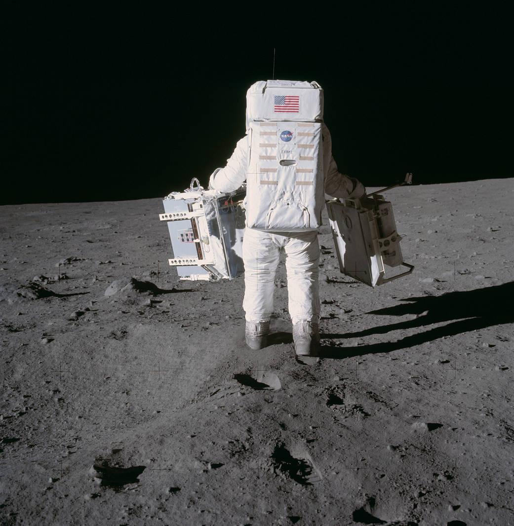 Buzz Aldrin walking on the Moon