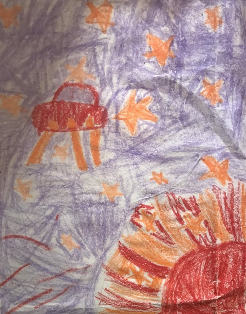 My granddaughters drawing of an extraterrestrial traveler