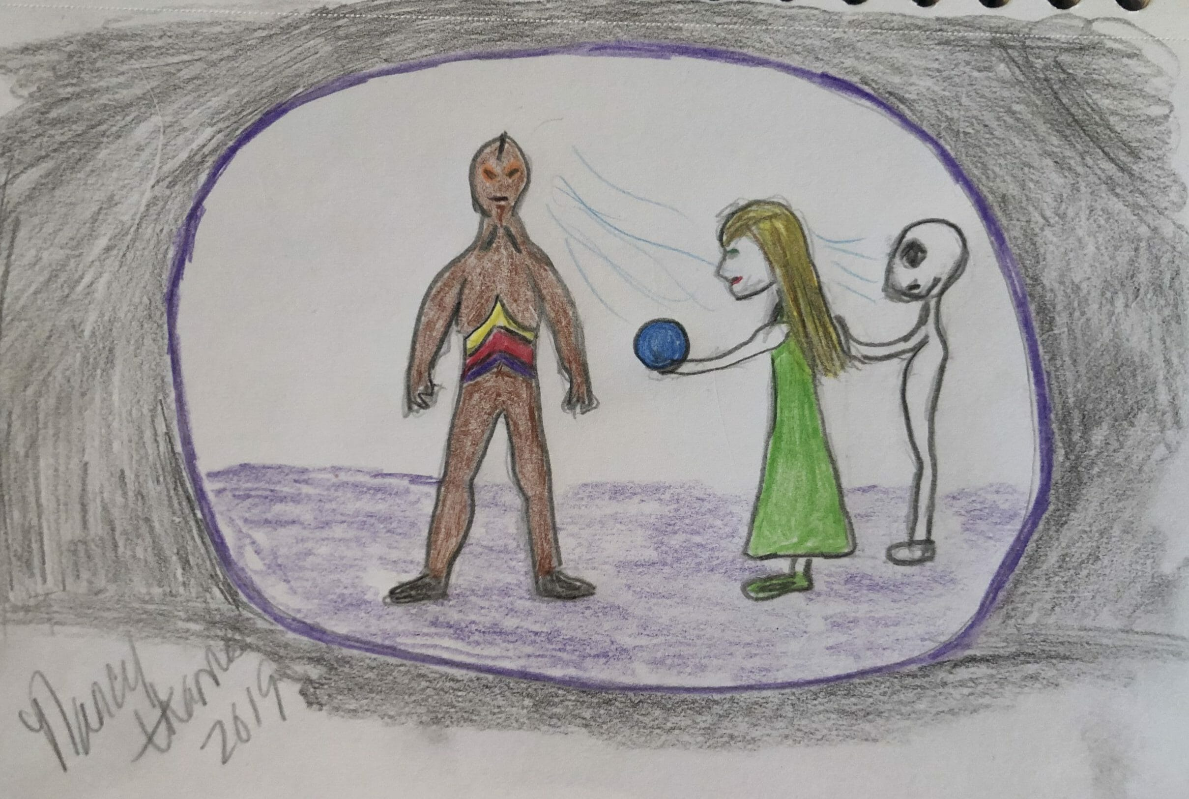 Presenting my blue orb to reptilian humanoid