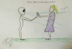 Greeting a Grey extraterrestrial