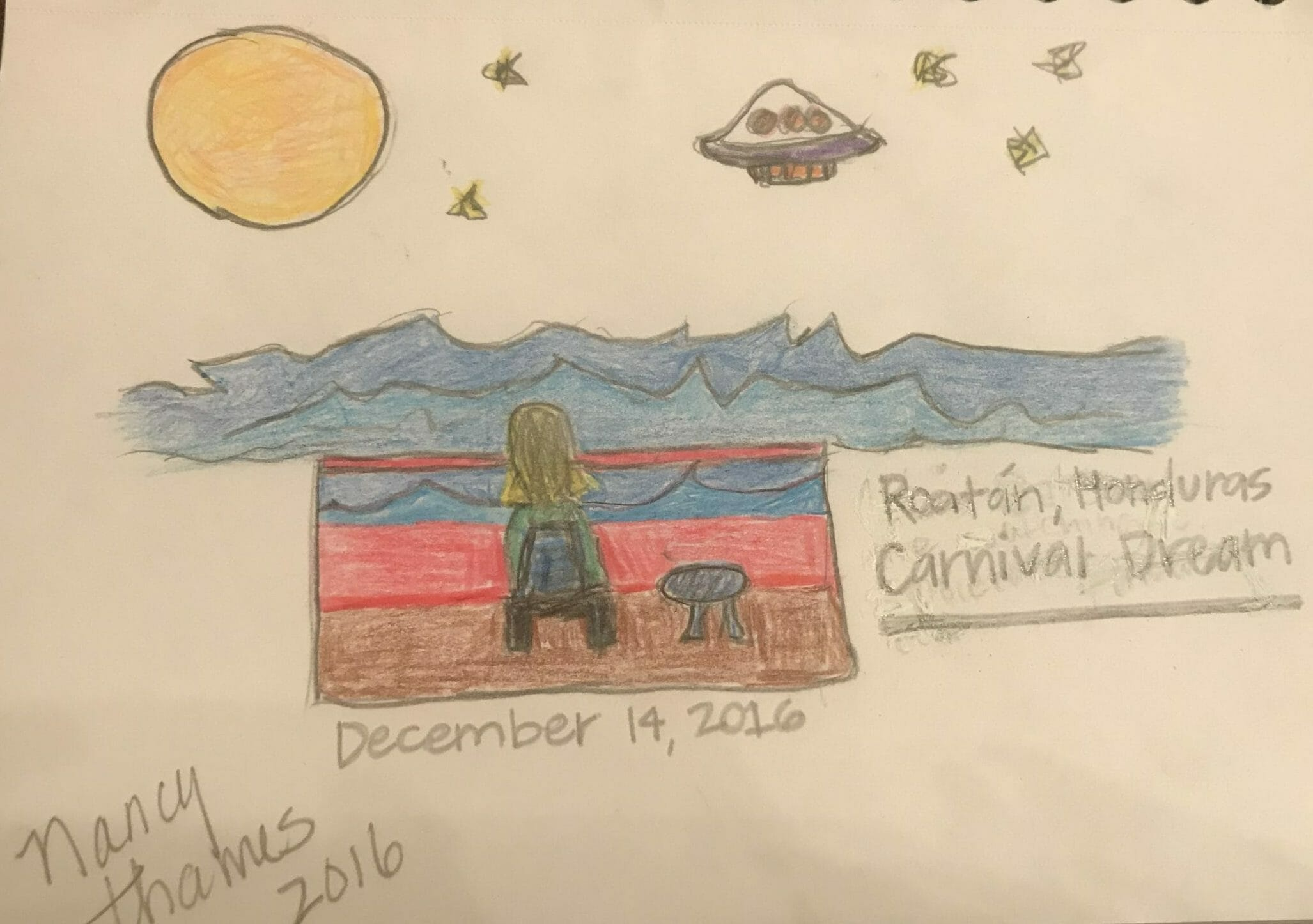 Nancy Thmes Alien encounter on carnival cruise while near Honduras