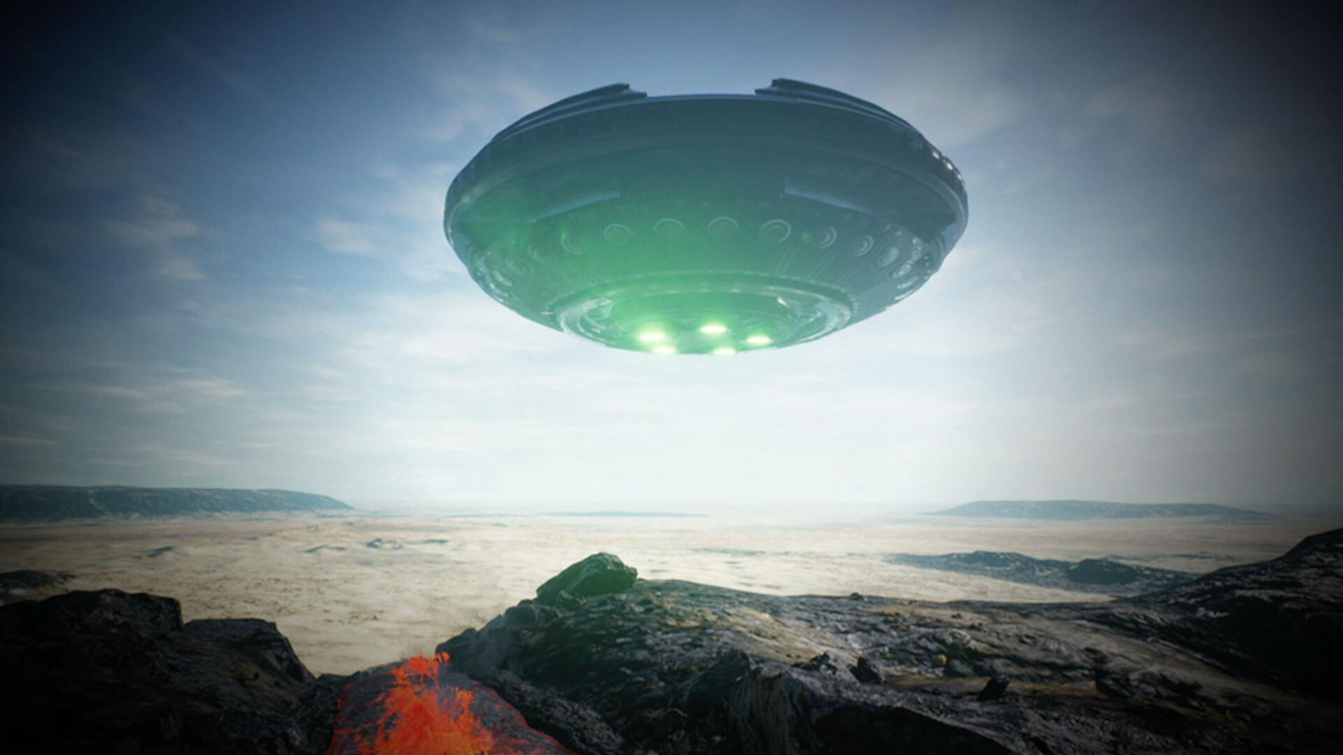 UFO over Hawaiian Volcano